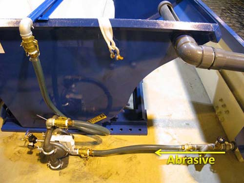 Abrasive Flow From Tank to SmartRemove Hopper